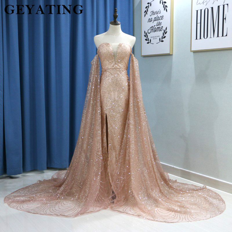 Glitter Rose Gold Sequin Mermaid Prom Dresses With Detachable Long Sleeves Wine Red Evening Formal Gown Split V-neck Court Train