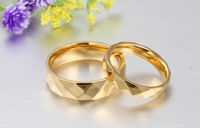 Fashion Classic Design Cute Plated Wedding Couple Ring Prismatic