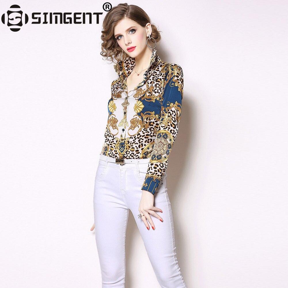 Simgent Long Sleeve Blouse Spring Women Turn Down Collar Office Casual Elegant Leopard Print Basic Shirts Woman Blusas SG9141