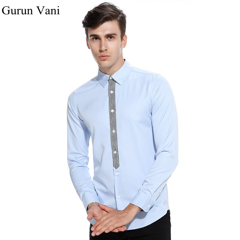 Mens Plaid Placket Long Sleeve Shirts Fashion Slim Fit Male Dress Shirt Party Stage Shir ...