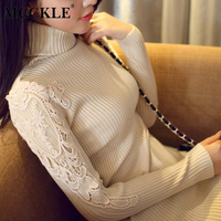 MCCKLE Korean Autumn Winter Knitted Lace Pullovers And Sweaters For Woman Slim Comfortable Long Sleeve Turtleneck