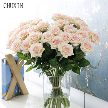 25pcs/lot New Artificial Flowers Rose Peony Flower Home Decoration Wedding Bridal Bouquet Flower High Quality 9 Colors fake rose flowers
