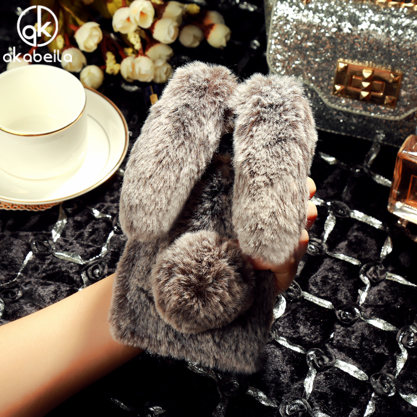 LeEco AKABEILA Fluffy Rabbit Fur Casos de Silício Para LETV Le 2 Pro X20 X25 Le 2X620X621X526X527 S3 x622 X626 Diamante cobrir