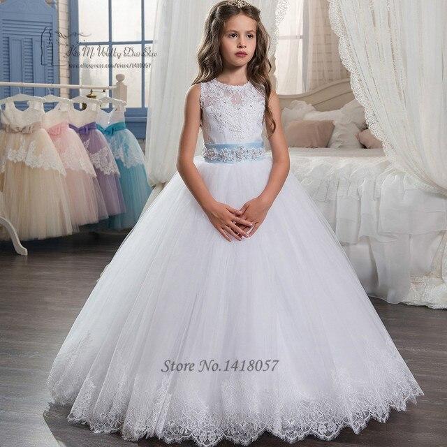 bd6820e31 2017 Flower Girl Dresses for Weddings First Communion Dress for Girls Lace  Sky Blue Kids Prom