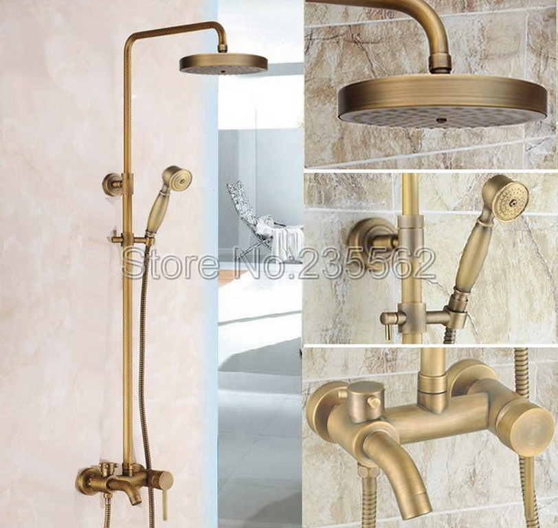 Antique Brass Bathroom Single Lever Rain Shower Faucet Set Tub Mixer Tap Hand Shower Cold and Hot Water Shower Faucets lrs188