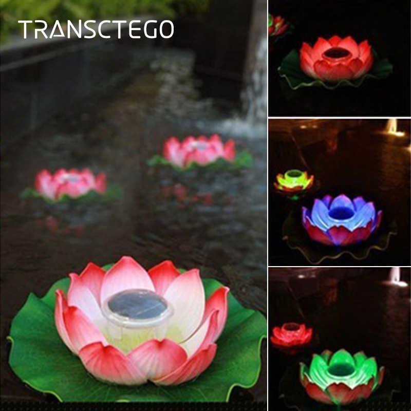 Waterproof Lotus Floating Light Uonlytech Solar Floating Light 2Pcs Random Color Solar Pond Light for Garden