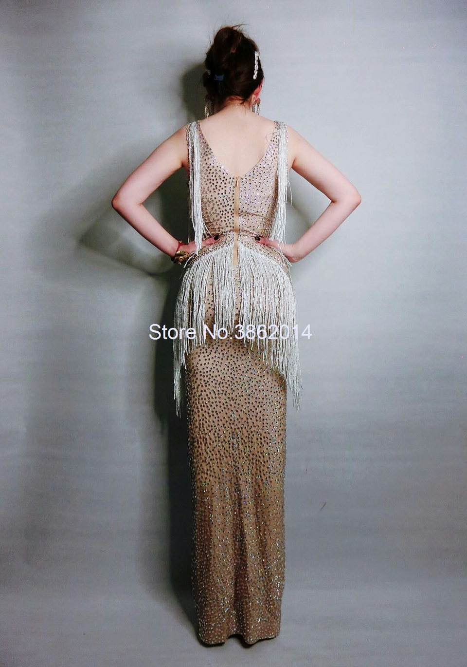 Sparkly cristais franja vestido cantor desempenho traje festa de aniversário celebridade cheia strass vestidos sem mangas vestido longo - 6