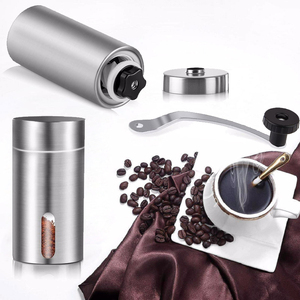 Image 2 - Manual Coffee Grinder, Stainless Steel Coffee Mill with Adjustable Ceramic Conical Burr, Ideal for Home, Office, Travelling