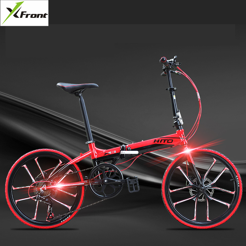 New Brand Aluminum Alloy 20/22 Inch Frame 6 Speed Folding Bike Outdoor BMX Disc Brake Bicicletas Lady Children Bicycle