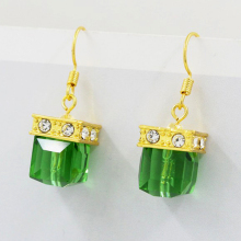 Hot Vintage Women Earrings Green Stone Wedding Engagement Square Jewelry Crystal Gold New Style Drop