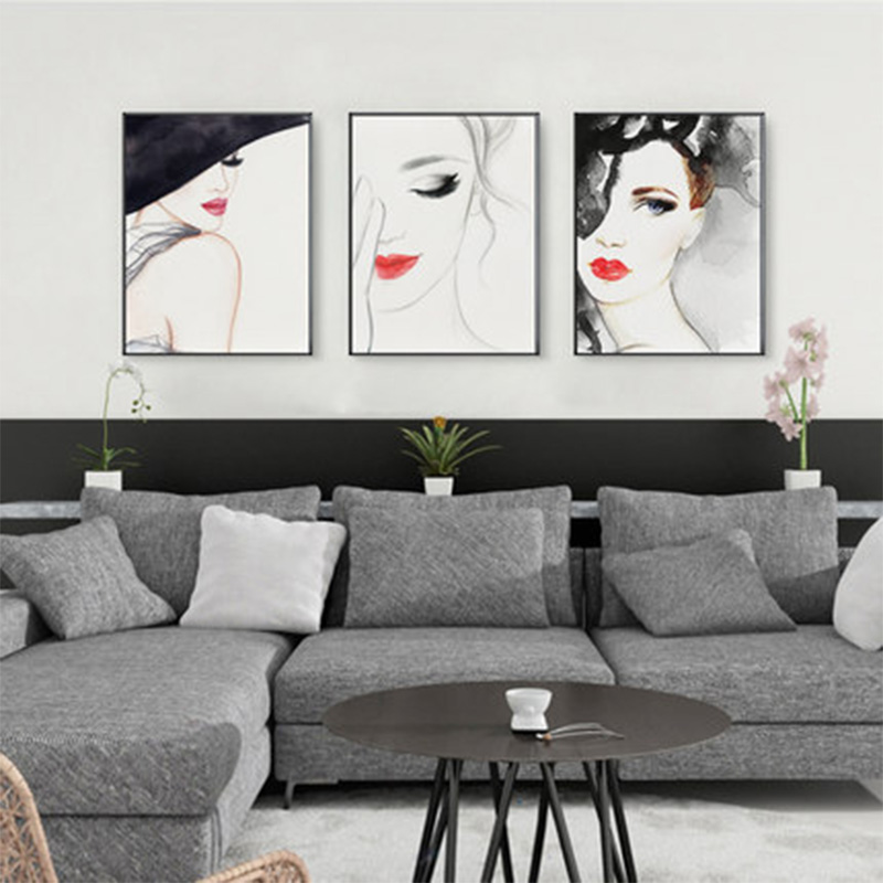 Modern Bar Beautiful Girl Poster Sexy Red Lip Canvas Painting Nordic Kitchen Wall Painting Living Room Bedroom Home Decor Poster