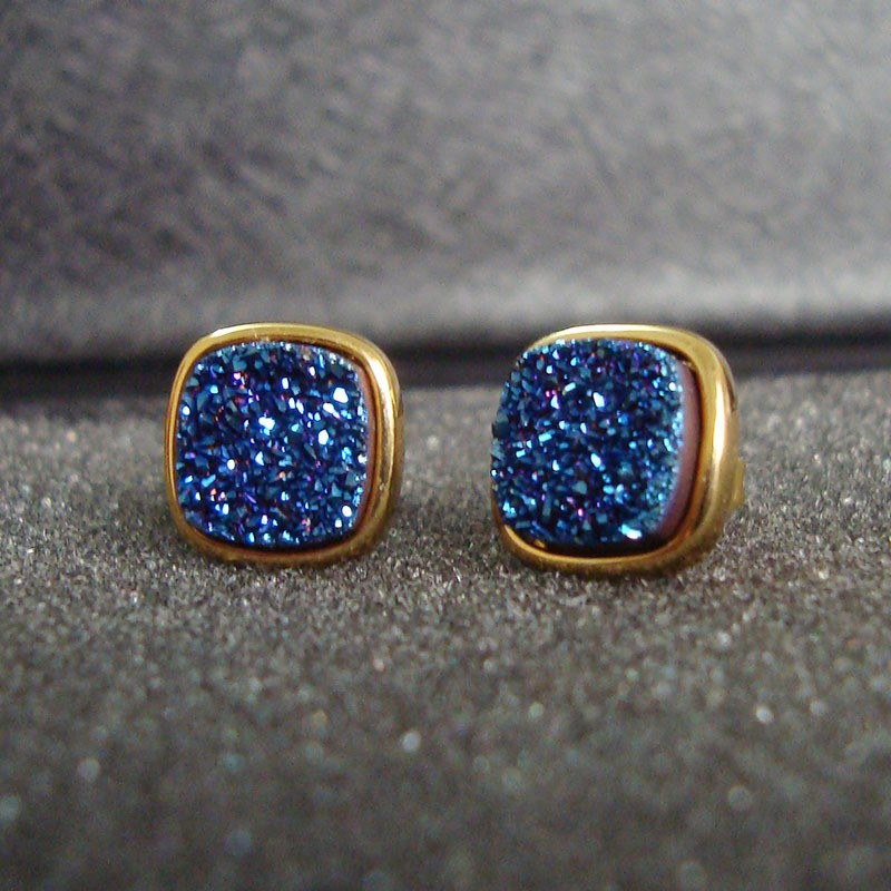 Brazil Hot Design Female Druzy Bijoux Gold Plated Round Blue Quart Natural Agate Druzy Earrings Fashion Stud Earrings for Women-2