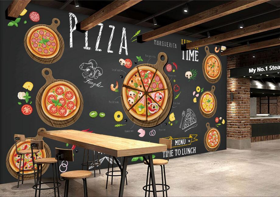 3d Embossed Brick Wallpaper Custom Restaurant Wallpaper Hand Painted Cartoon Delicious