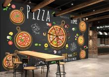 Custom restaurant wallpaper,Hand-painted cartoon delicious pizza,3D murals for cafe restaurant background wall PVC wallpaper