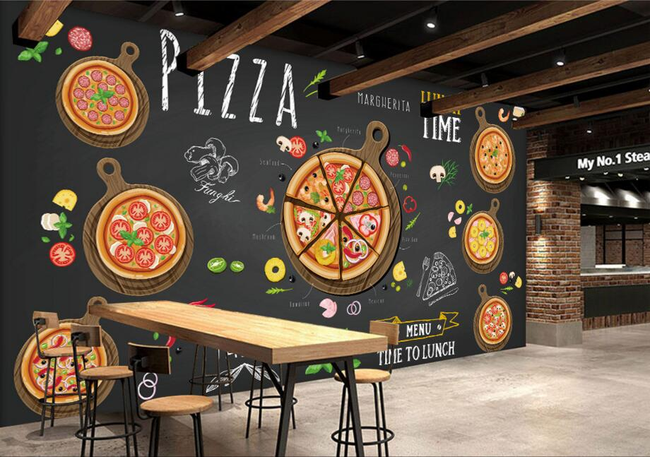 >Custom restaurant wallpaper,Hand-painted <font><b>cartoon</b></font> <font><b>delicious</b></font> pizza,3D murals for cafe restaurant background wall <font><b>PVC</b></font> wallpaper