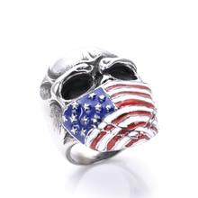American flag black skull ring casting drip motorcycle club stainless steel ring