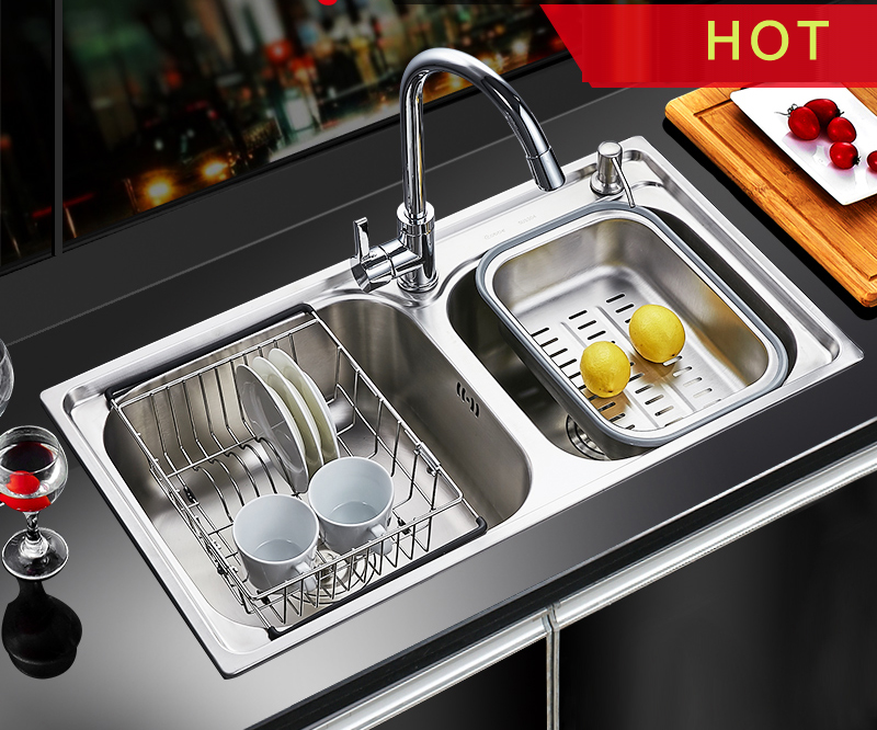 Modern 304 Stainless Steel Double Bowl Undermount Brushed Kitchen Sink Set With Multifunctional Pull Out Faucet Shot Gun Spayer Basin Sinksteel Aliexpress