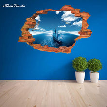 New Hot 1PC 3D Wall Stickers Mural Decal Quotes Art Home Decor Modern Fashion Cartoon Stiker Blue Sea Boat For Living Room(China)