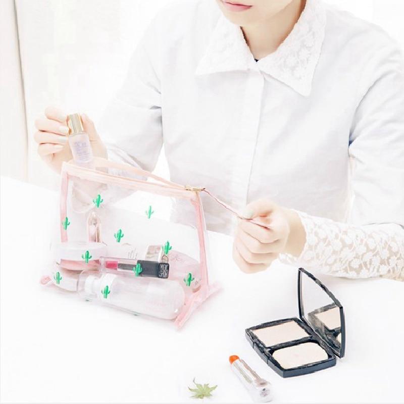 Portable Simple Transparent Cosmetic Toiletry Kits Storage Travel Storage Bag Cute Cactus Ice Cream Pattern Makeup Organizer