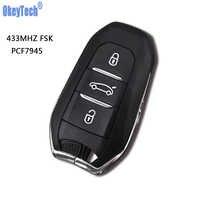 OkeyTech DS Smart Remote Schlüssel 433MHz Mit Chip für Peugeot 508 Für Citroen C4 DS4 DS5 Mit Notfall Schlüssel HU83 Klinge 3 Taste
