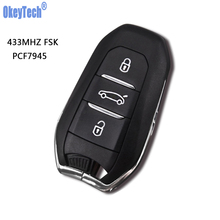 OkeyTech DS Smart Remote Key 433MHz With Chip for Peugeot 508 For Citroen C4 DS4 DS5 Emergency HU83 Blade 3 Button