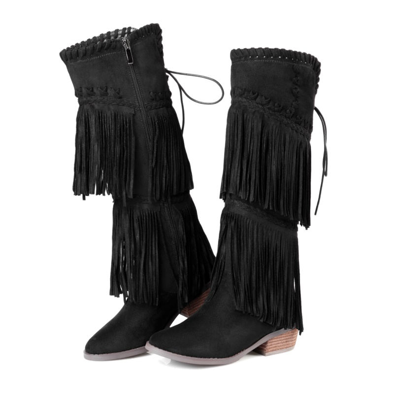 US $150.0  TWISEE Fringe Frauen Stiefel braun Runde Kappe Stiefel Quadrat ferse Kniehohe Stiefel Winter Warme Schneeschuhe in TWISEE Fringe Frauen