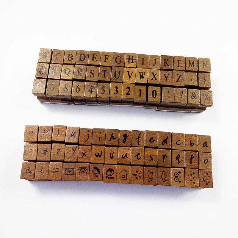 42 Pcs/set Romantic Handwriting Alphabet Letter Wooden Stamp Set Retro Vintage Wooden Craft Box Rubber Stamp 3 Design Wholesale