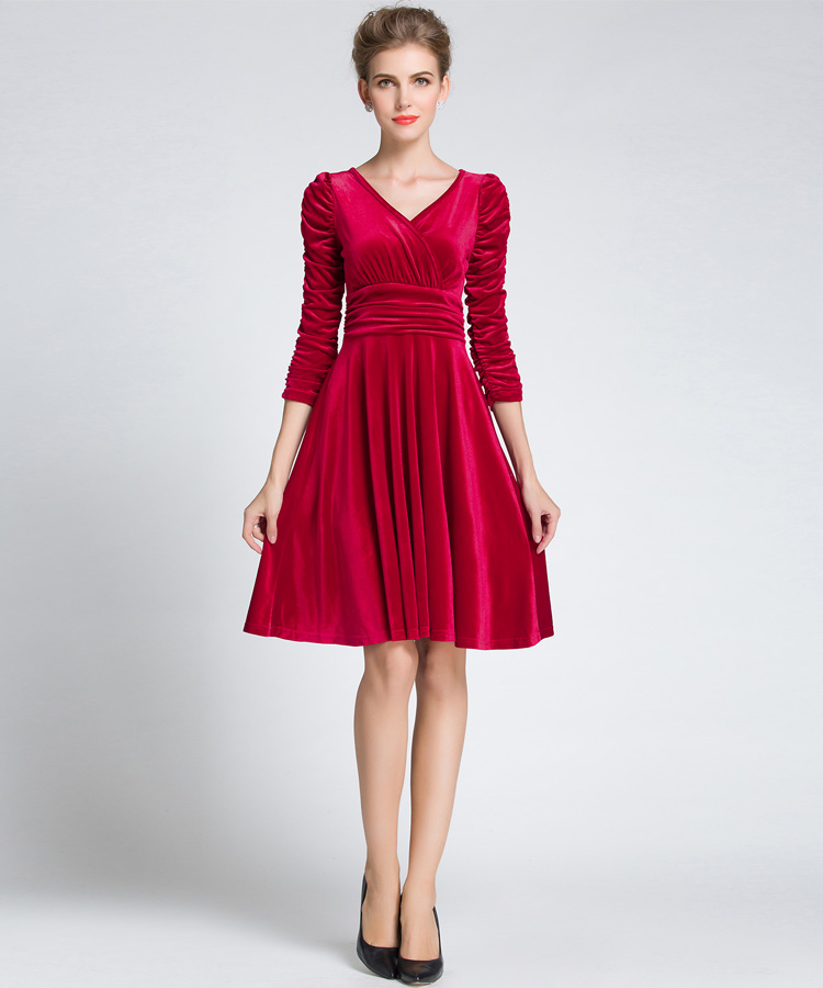 US $31.36 15% OFF|Women\'s Plus Size Fit and Flare Dress Plus Size Clothing  Women Skater Elegant Sleeve Red-in Dresses from Women\'s Clothing on ...