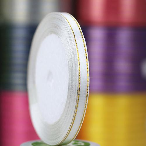 1 Roll 25 Yard 6mm Wide Golden Tone Rimmed Stain Ribbons Wedding Birthday Decor