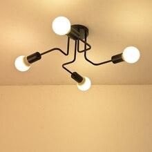 מרובה מוט יצוק ברזל תקרת אורות סלון בציר תעשייתי לופט נורדי מנורות תקרה עבור בית גופי תאורה