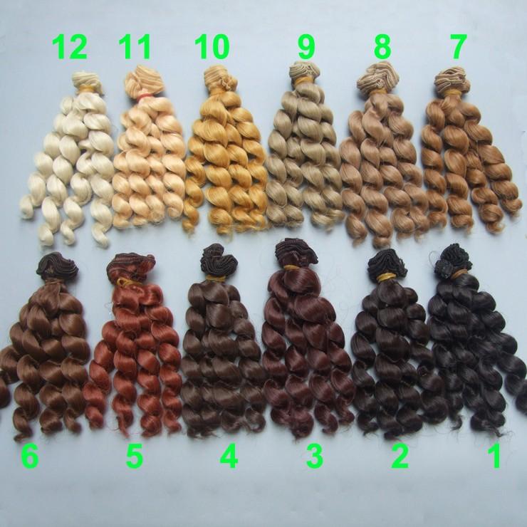 free shipping wholesales 5pieces/lot 15 cm brown cofffe BJD/SD Doll Wigs/hair DIY curly hair wig for 1/3 1/4 bjd doll
