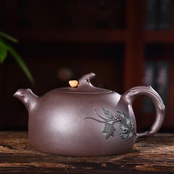 400ml Genuine Yixing Zisha Tea Pot Famous Handmade Raw Ore Purple Mud Longevity Peach Teapot Kung Fu Tea Kettle Free Shipping