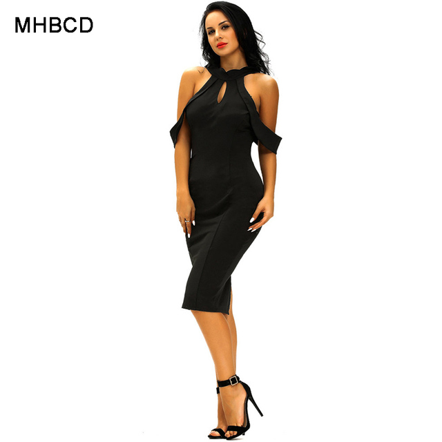 MHBCD Summer Sexy Club Halter Vest Dress Women Fashion Hollow Out Party Beach  Office Plus Size 0976a1eda1bf