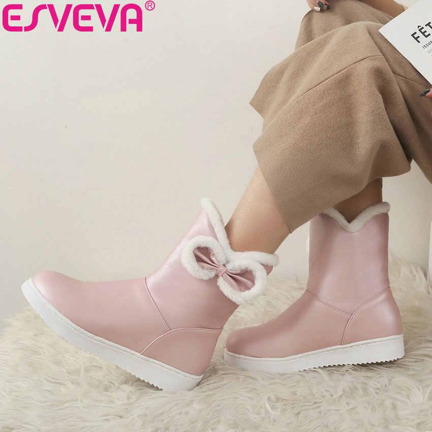 ESVEVA 2019 Kadın Çizmeler El Yapımı Düşük Topuk Kış Ayakkabı kelebek-düğüm Kadın yarım çizmeler kar ayakkabıları Yuvarlak Ayak Platformu Boyutu 34 -40