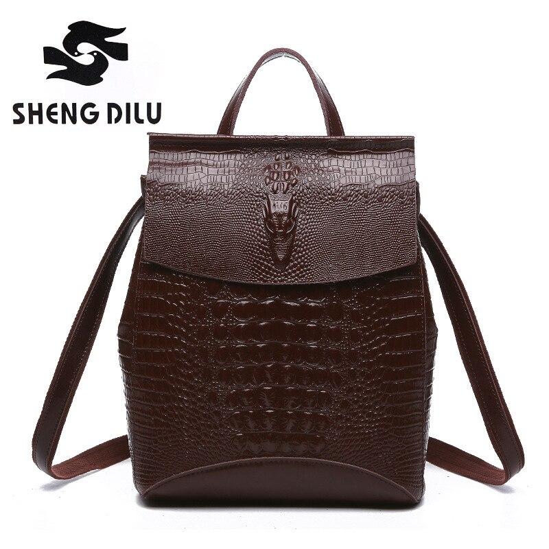 2017 New Fashion Vintage Crocodile Pattern Women Genuine Leather Backpack For Girls Back Pack Bags Ladies Black Backpack 3063
