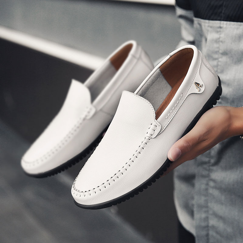 2019 Men Shoes Spring Breathable Moccasins Mens Driving Shoes For Man Slip On Loafers Leather Casual Shoes White Big Size 37-47