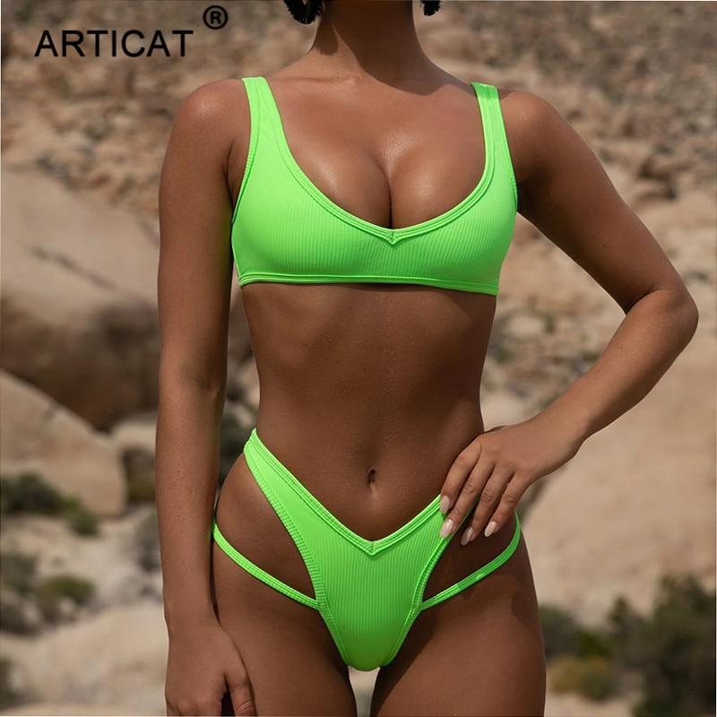 Articat Sexy Summer Swimwear Women Bikini 2020 Spaghetti Strap Hollow Out Swimsuit Bathing Suits Beachwear Neon Bikini Mujer