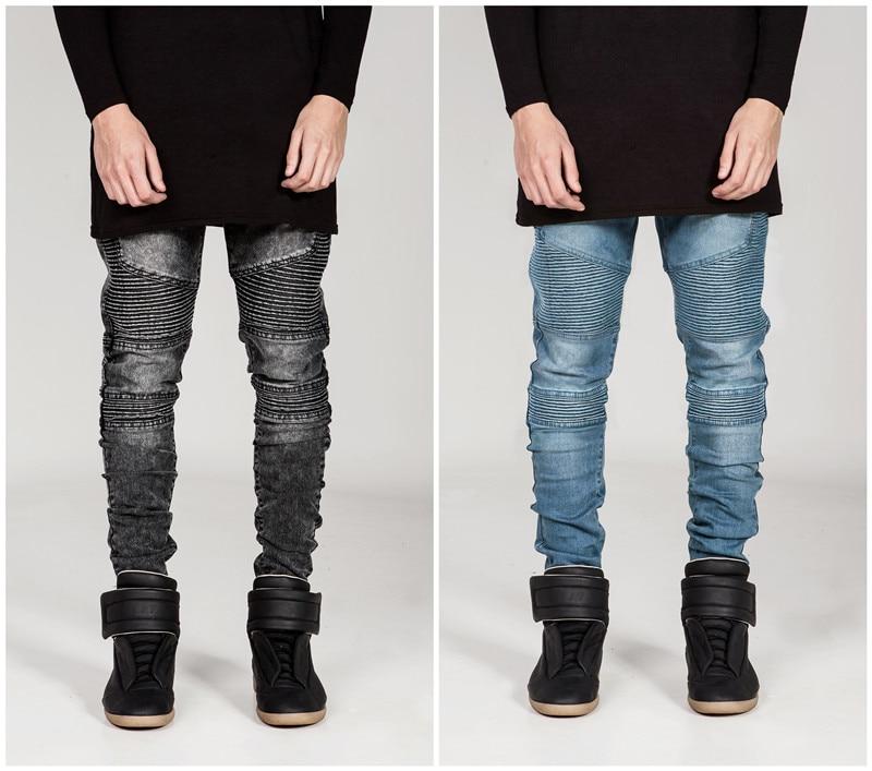 ФОТО Mens Skinny jeans Men 2016 Runway Distressed Slim Elastic Jeans Denim Biker Jeans Hip-Hop Pants Washed Black Jeans For Men Blue