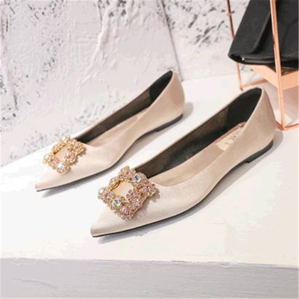 Flat Shoes 2018  Women's Shoes  Heel Big Size Pregnant Woman Champagne Flat Heel Bridesmaid Shoes Square Water Drill Single Shoe