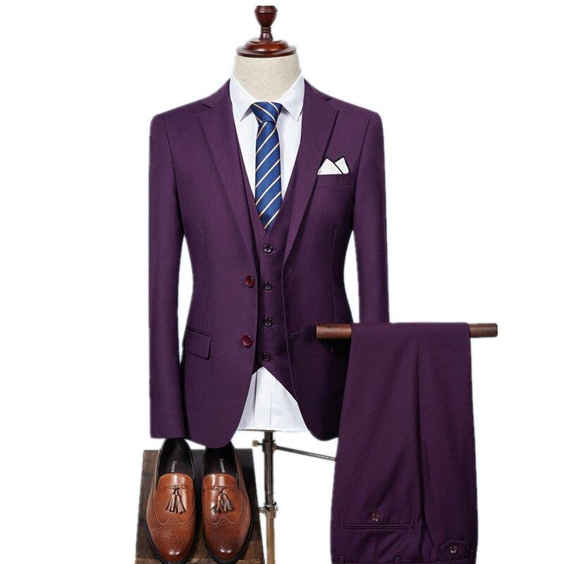 (Chaqueta + chaleco + Pantalones) hombres slim fit Trajes hombres boda Trajes con Pantalones desgaste formal del mens del negocio ocasional de los hombres de la alta calidad Trajes