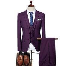 (Jacke + Weste + Hosen) Männer Slim Fit Anzüge männer Hochzeit Anzüge Mit Hosen Mens Formal tragen Hohe qualität männer casual anzüge