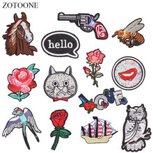 ZOTOONE Animal Guns Flower Patches Diy Stickers  Iron on Clothes Heat Transfer Applique Embroidered Applications Cloth Fabric G