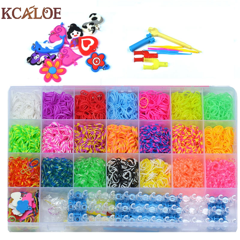 KCALOE 4200pcs Rubber Bands To Weave Bracelet Gum DIY Charm Plaiting Eavingel Wastic Band Boy Girl Hair Accessories Machine Set 100pcs lot fluorescence colored hair band holders rubber bands elastics hair accessories girl women hair ties gum page 6