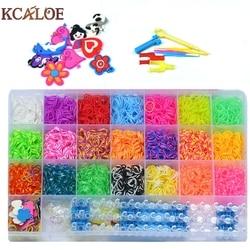 KCALOE 4200pcs Rubber Bands To Weave Bracelet Gum DIY Charm Plaiting Eavingel Wastic Band Boy Girl Hair Accessories Machine Set