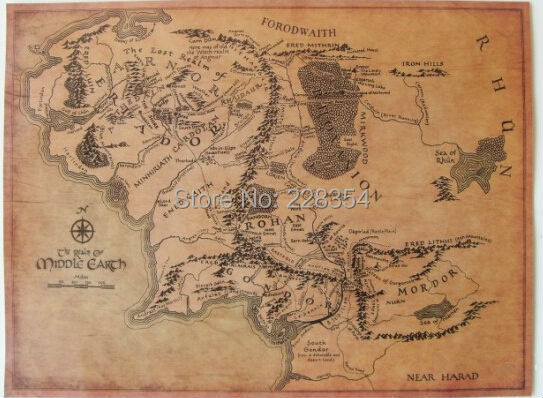 vintage replication the lord of the rings middle earth forodwaith map pating bar pub home wall