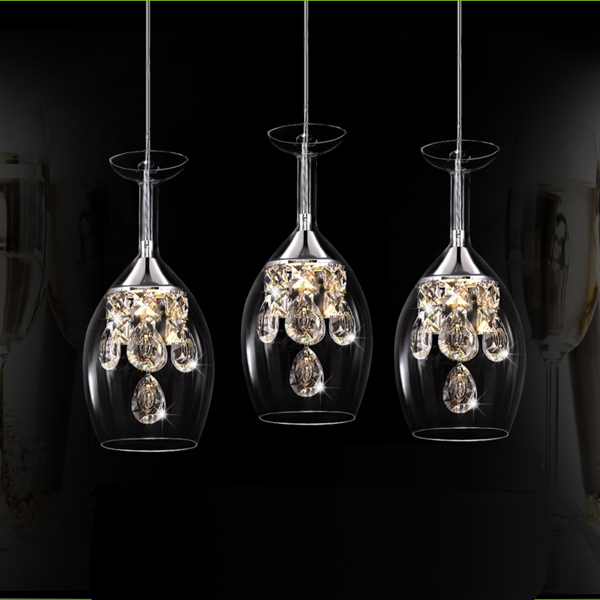 Transparent and clear pendant lights Stairs lights Wine Glass restaurant LED crystal pendant lamp creative personality glasse ZA creative glass pendant lights personality transparent bar restaurant study pendant lamps 1pc red gray orange glass lighting za