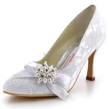 "Custom Made AJ001 White Women Closed Toe High Heels 3.5"" Bridal Party Pumps Bow Rhinestones Pearls Satin Lace Wedding Shoes"
