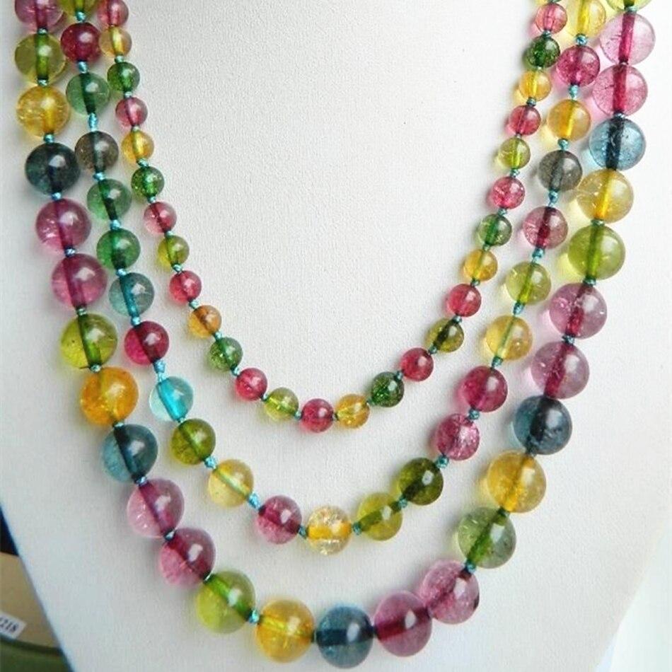 6mm 8mm 10mm 3row multicolore simulé tourmaline ronde perles à longue  chaîne collier semi-précieux bijoux en pierre cadeau 17-19 MY5164 ad8c688781c9