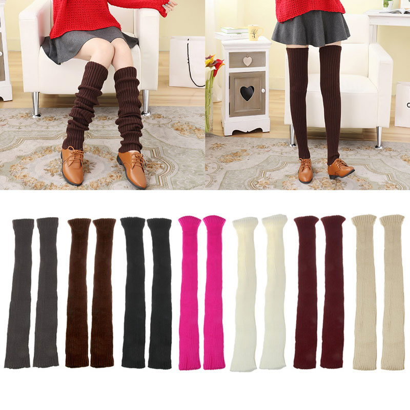 Women Winter Warm Knit Crochet High Knee Leg Warmers Leggings Boot Slouch
