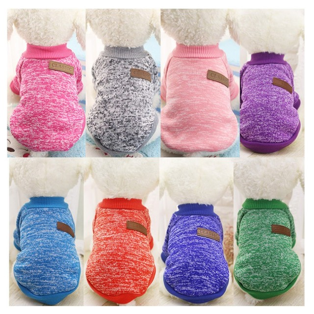 Classic Warm Dog Clothes Puppy Outfit Pet Cat Jacket Coat Winter Soft Sweater Clothing For Small Dogs Chihuahua XS-2XL 25S1